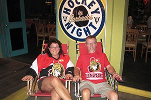 Cille and Rob Out Living the Dream watching hockey in Barbados at Bert's Bar